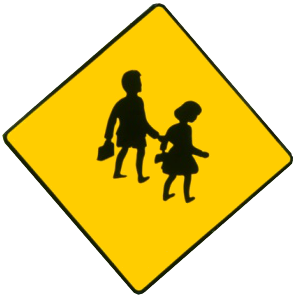 Irish school-crossing sign